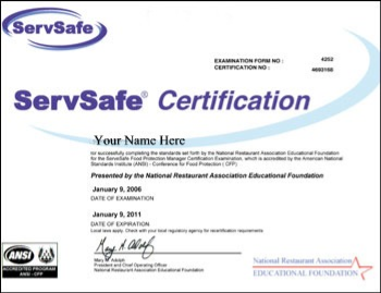 Servsafe food handler training for Servsafe certificate template
